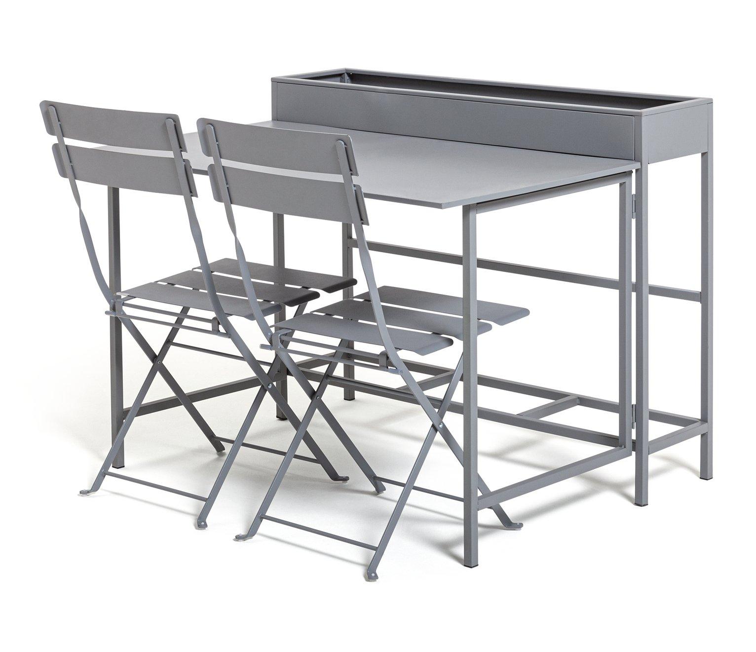 Habitat Trough 2 Seater Bistro Set - Grey