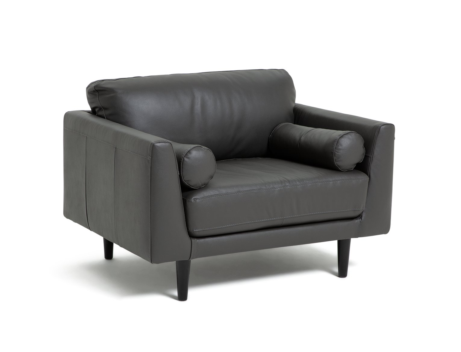 Argos Home Jackson Leather Cuddle Chair - Grey