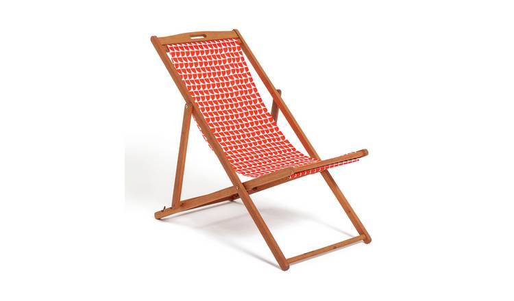 Habitat Wooden Deck Chair - Geo Orange