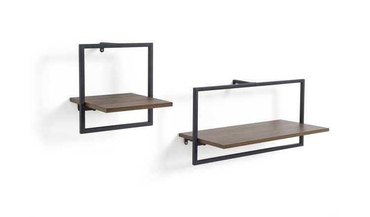 Argos Home Loft Living Set of 2 Metal Surround Shelves