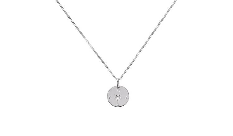 Moon & Back Silver Friends Cubic Zirconia Compass Pendant