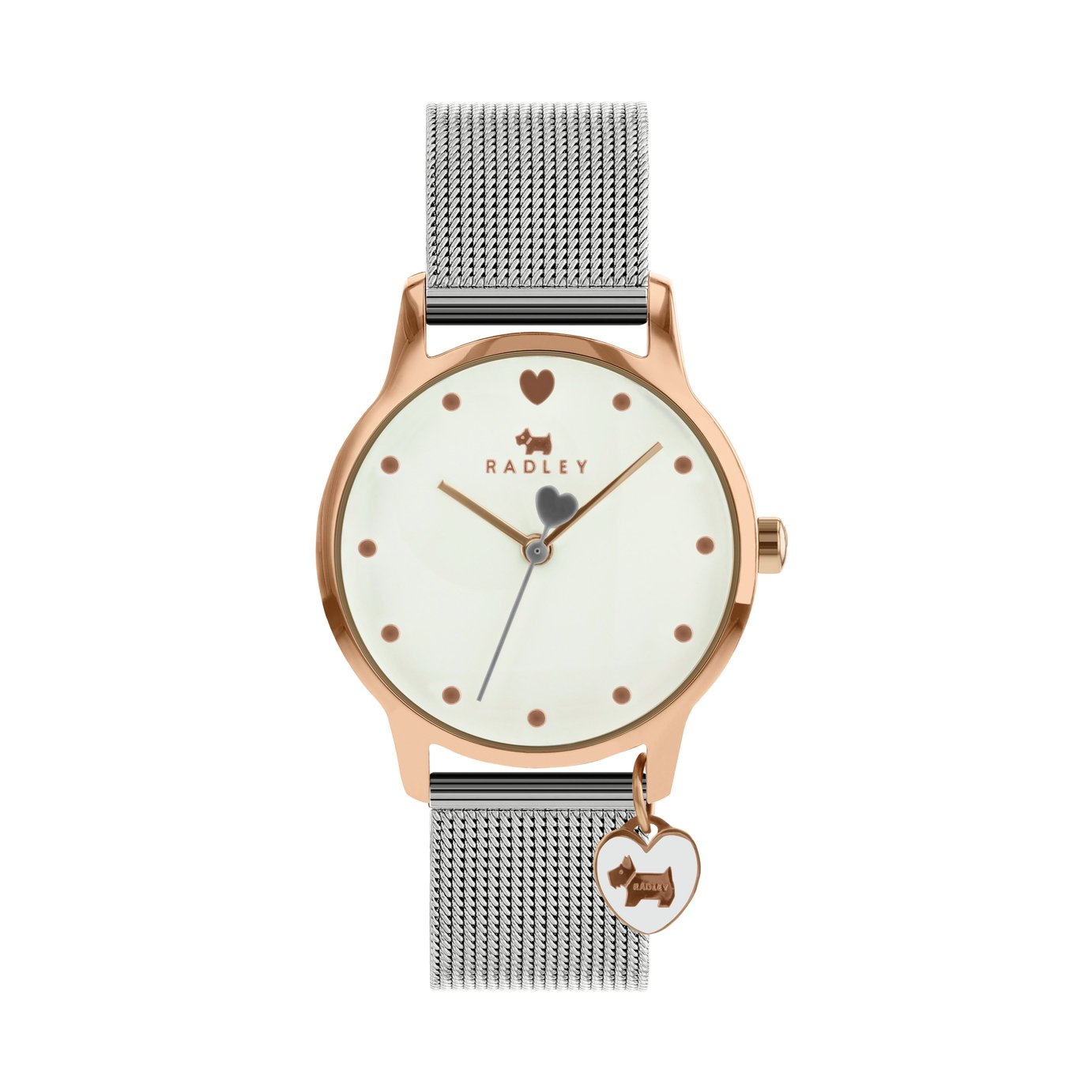 Radley Silver Mesh Bracelet Watch and Heart Dog Charm