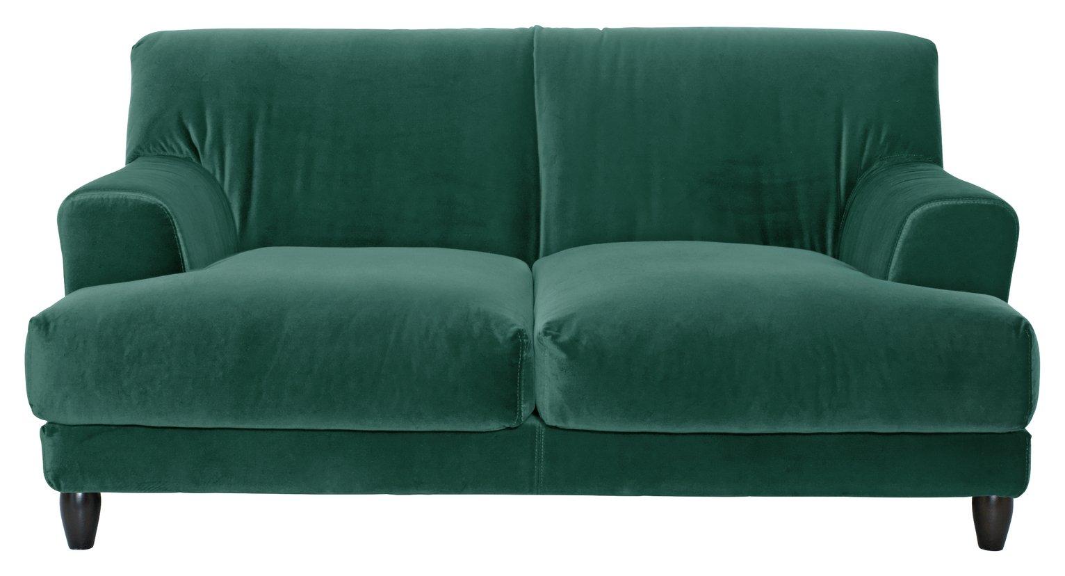 Habitat Askem 2 Seater Velvet Sofa - Emerald Green