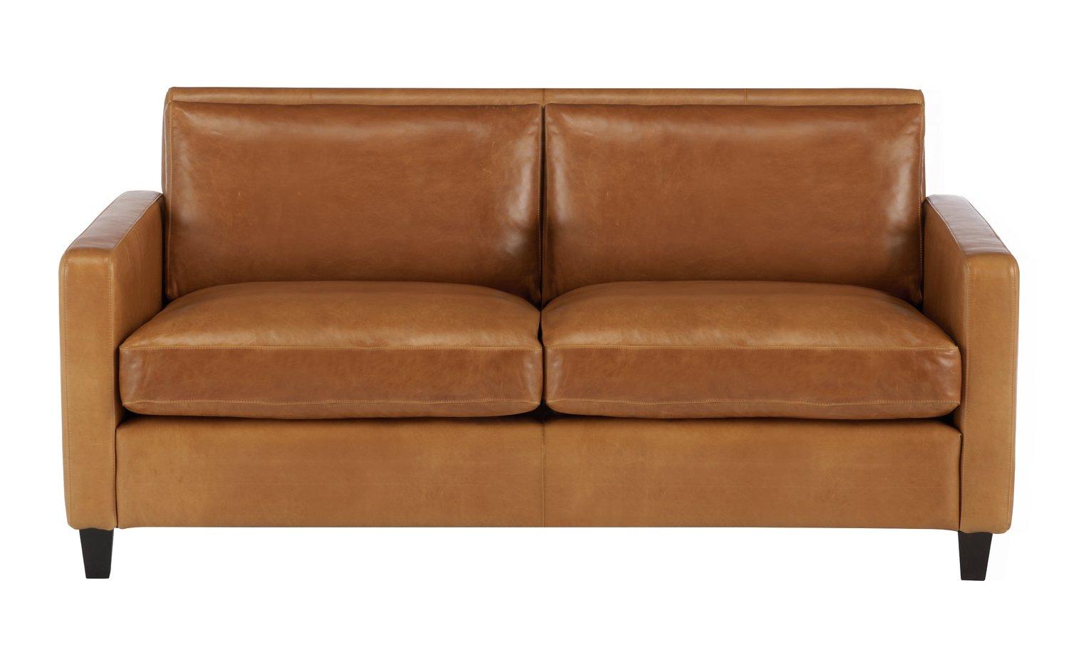 Habitat Chester 2 Seater Leather Sofa - Mid Tan