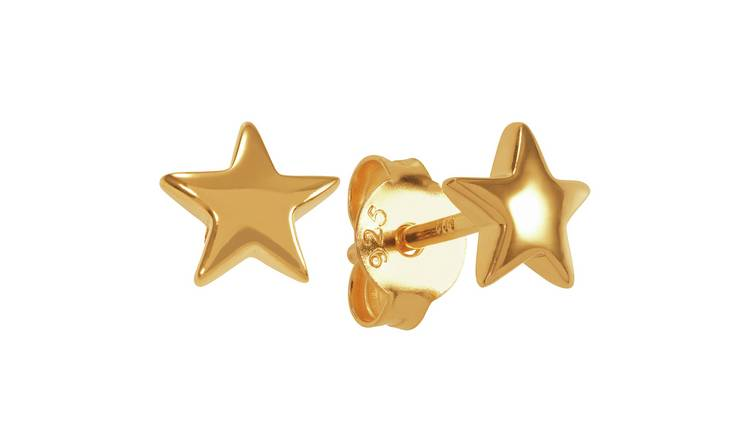 Revere 18ct Gold Plated Star Drop Stud Earrings