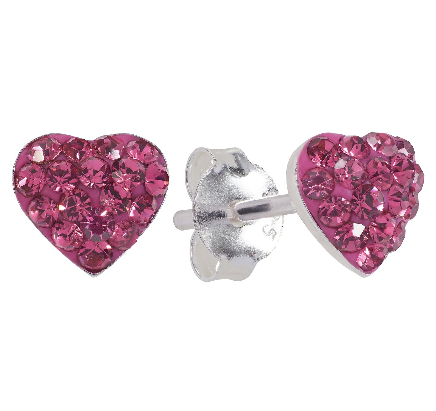 Revere  Sterling Silver Pink Crystal Heart Stud Earrings