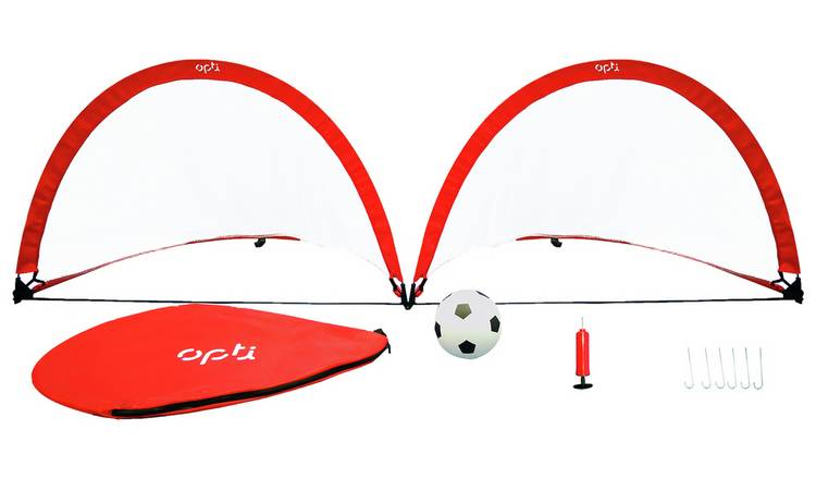 Opti Ball, Pump and 3 x 4ft Pop Up Football Goal - Set of 2