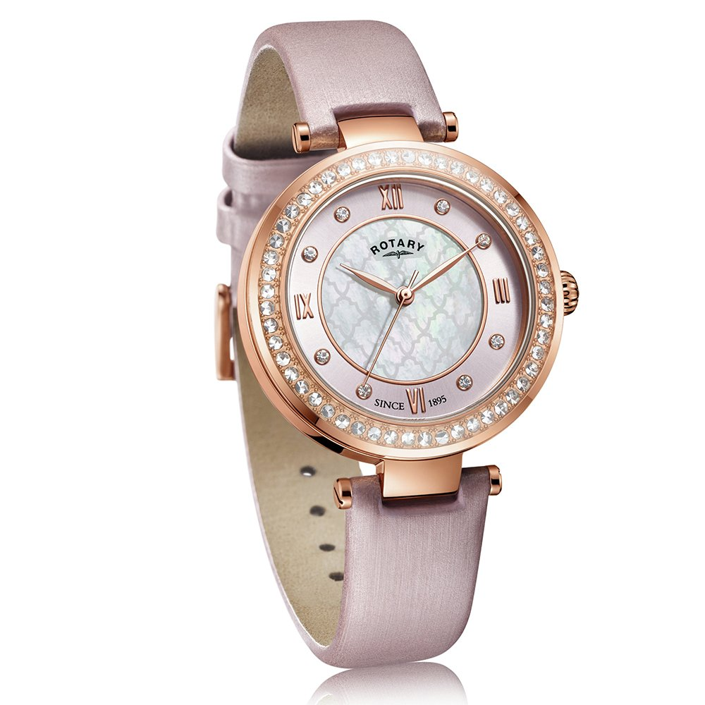 Rotary Ladies Rose Golds Blush Satin Strap Watch