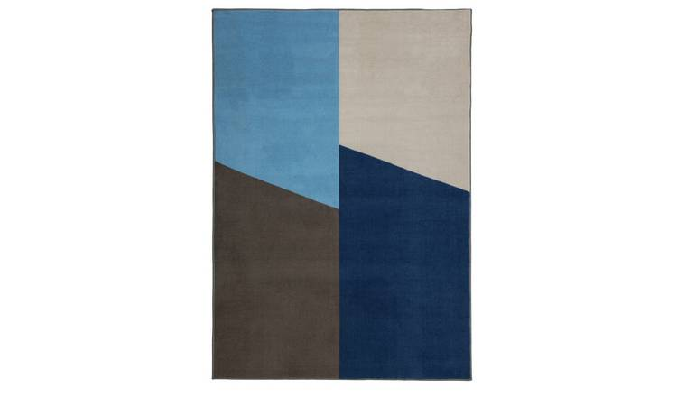 Habitat Geo Block Rug-120x170cm - Multicoloured