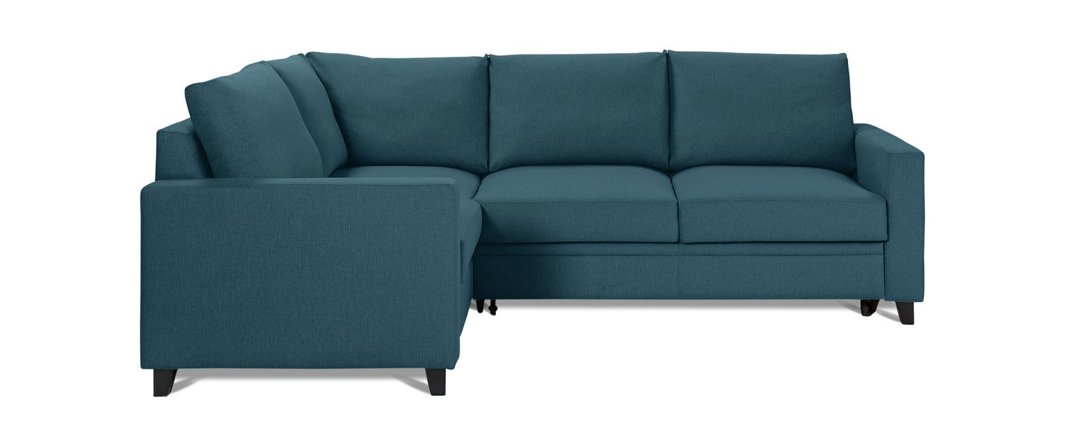Argos Home Seattle Left Corner Fabric Sofa Bed - Blue