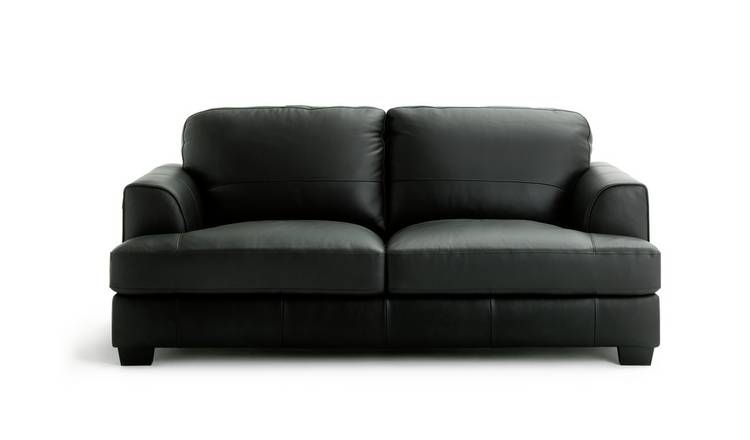 Habitat Elmton 3 Seater Leather Sofa - Black
