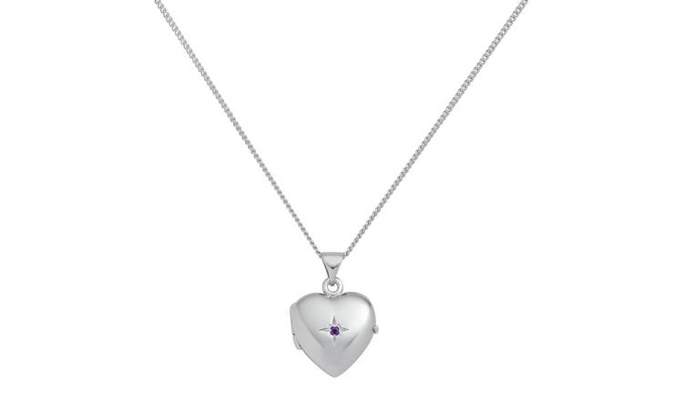 Revere Sterling Silver Birthstone Pendant Necklace -Amethyst