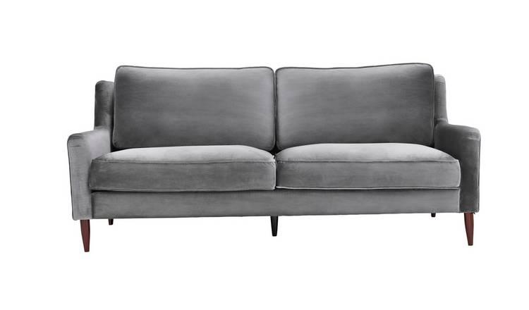 Buy Argos Home Jacob 3 Seater Velvet Sofa Grey Sofas