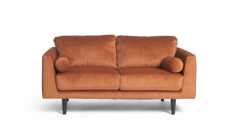 Habitat Jackson 2 Seater Velvet Sofa - Orange
