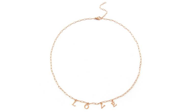 Revere Rose Gold Stainless Steel 'Love' Necklace