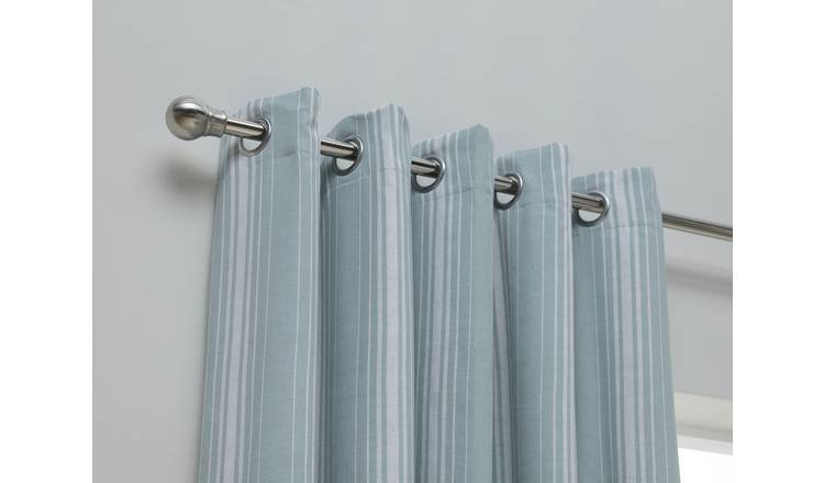 Habitat Striped Unlined Eyelet Curtains - Duck Egg