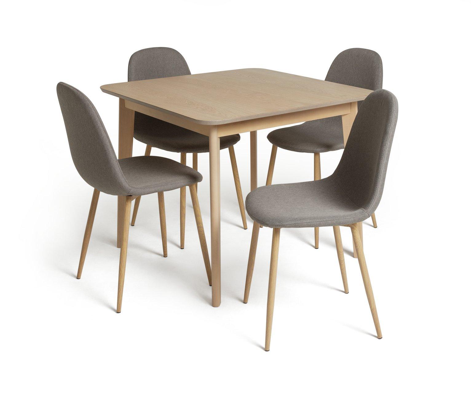 Habitat Skandi Oak Dining Table and 4 Beni Grey Chairs