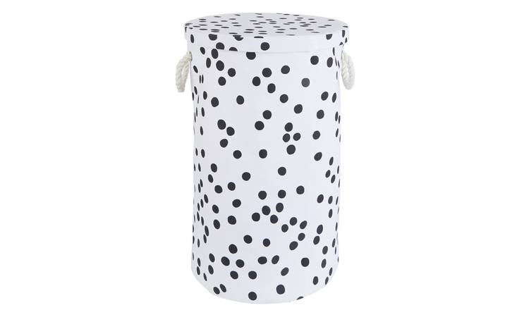 Habitat Penny Laundry Bin - Black and White