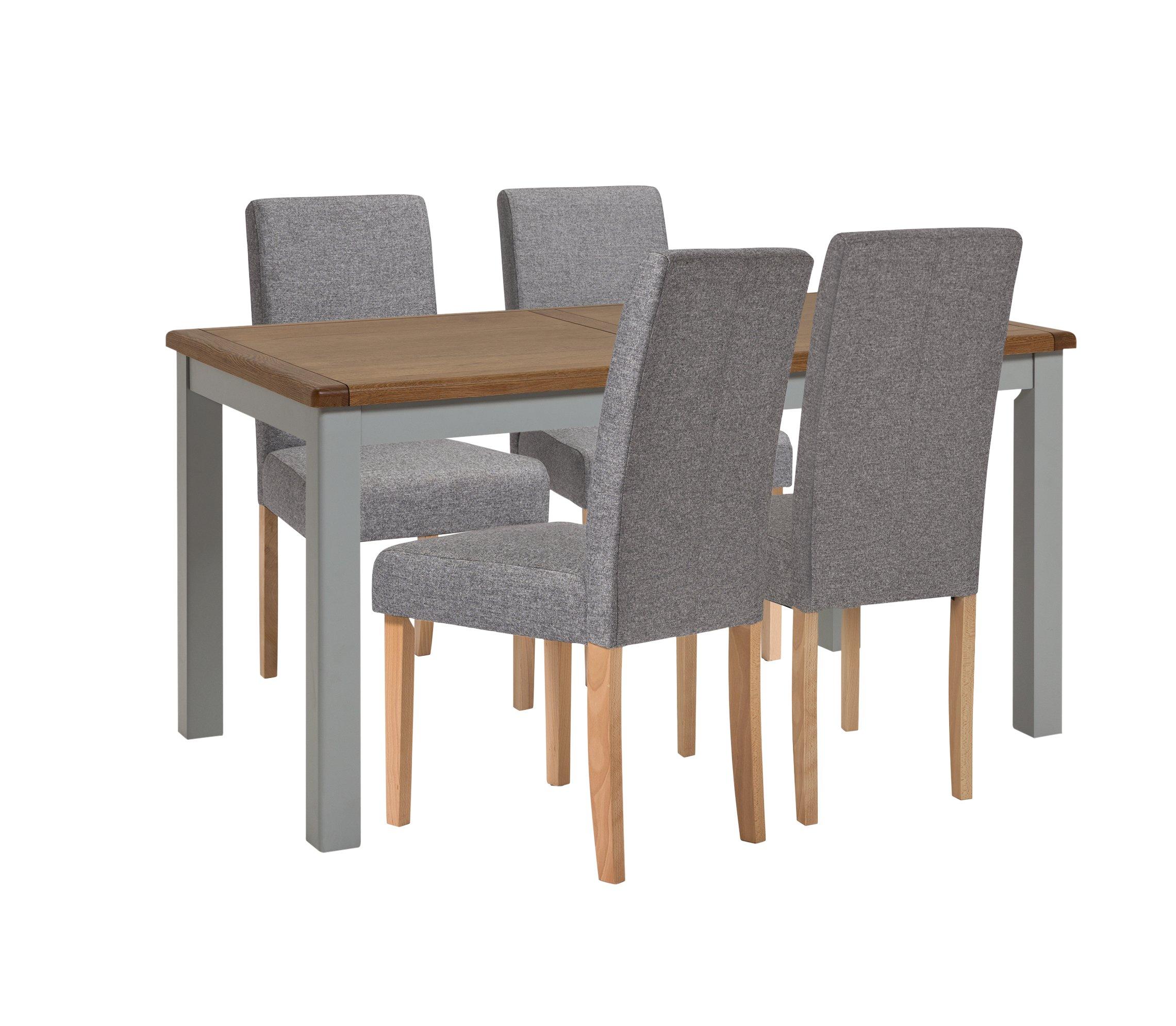 Habitat Kent Wood Veneer Dining Table & 4 Grey Chairs