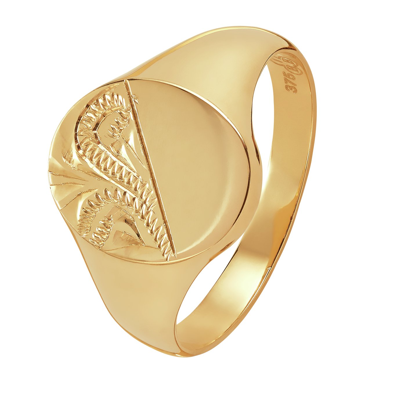 Revere 9ct Yellow Gold Oval Half Engraved Signet Ring