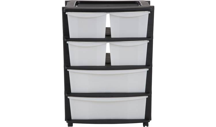 Buy Argos Home 6 Drawer Black Plastic Wide Tower Storage