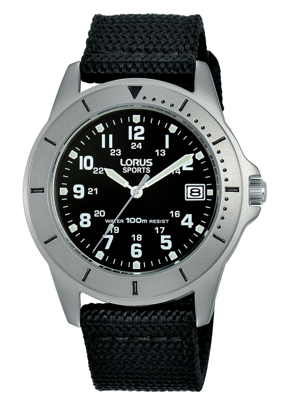 Lorus Men's Black Canvas Strap Sports Watch