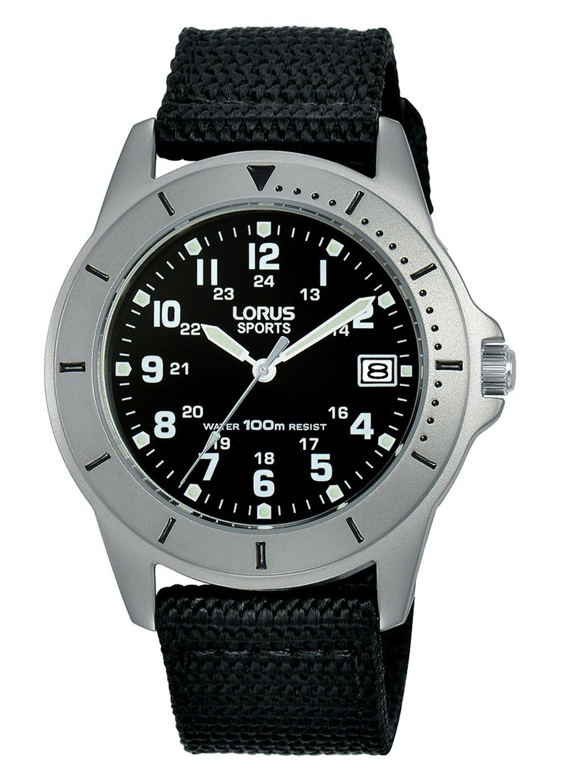Lorus Men's Black Canvas Strap Sports Watch
