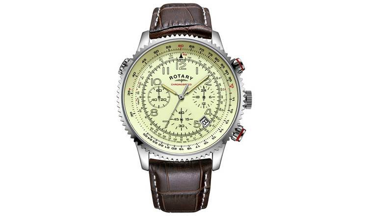 Rotary Men's Brown Leather Strap Chronograph Watch