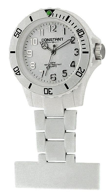 Constant Nurses' White Sports Fob Pin Fastening Watch