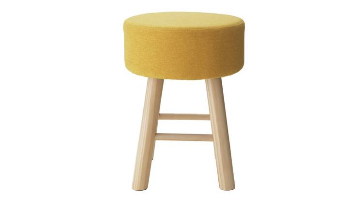Argos Home Small Fabric Footstool - Yellow