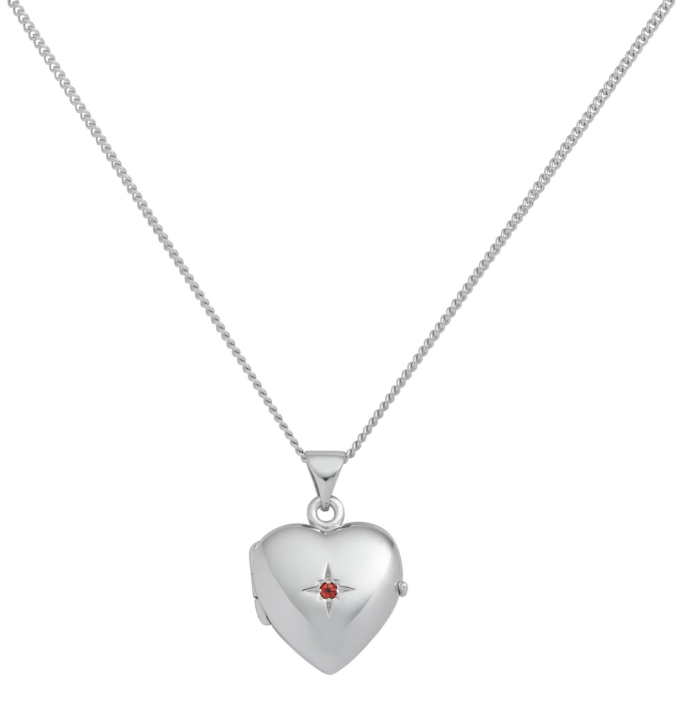 Revere Sterling Silver Heart Birthstone Pendant - January