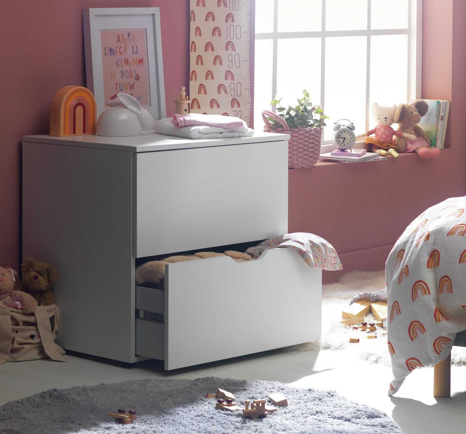 Argos Home Pod White 2 Drawer Low Chest of Drawers
