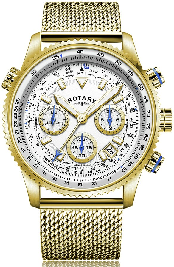 Rotary Men's Stainless Steel Gold Plated Bracelet Watch