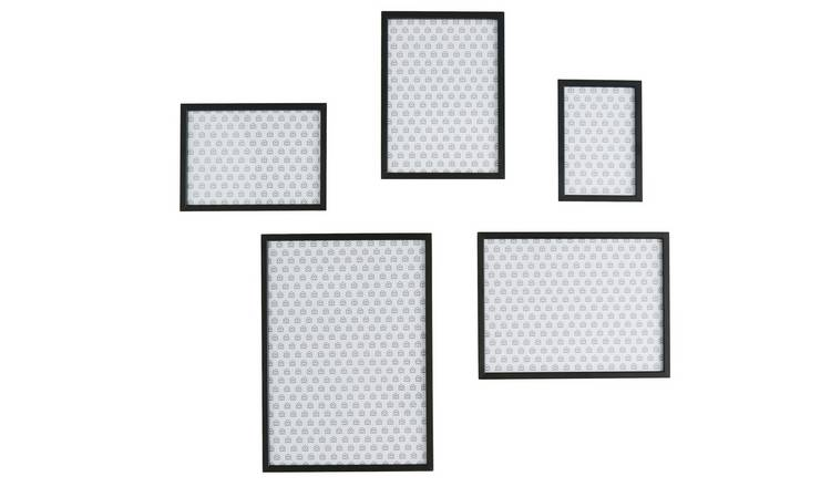 Habitat Aluminus Set of 5 Mixed Size Black Picture Frames