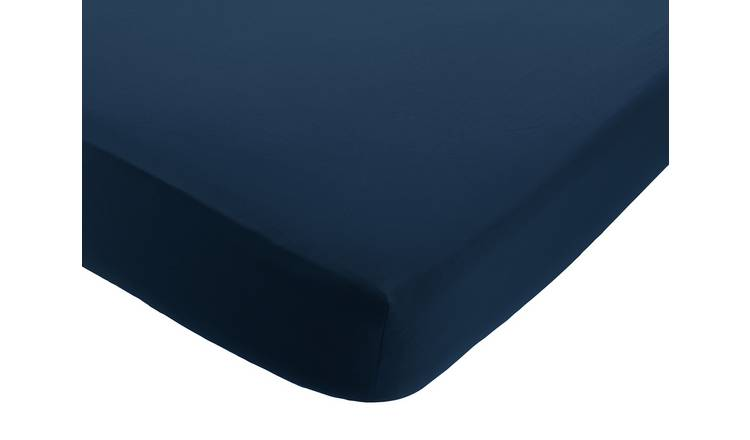 Habitat Linen Petrol Blue Fitted Sheet - Super King
