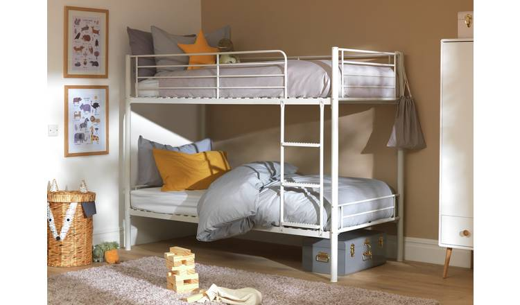 Argos Home Mason Metal Bunk Bed and 2 Kids Mattresses -White