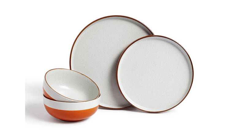 Habitat 12 Piece Dinner Set - Rust Speckle