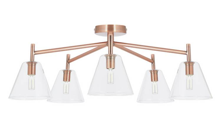 Habitat Hallam 5 Light Flush Glass Ceiling Light - Copper