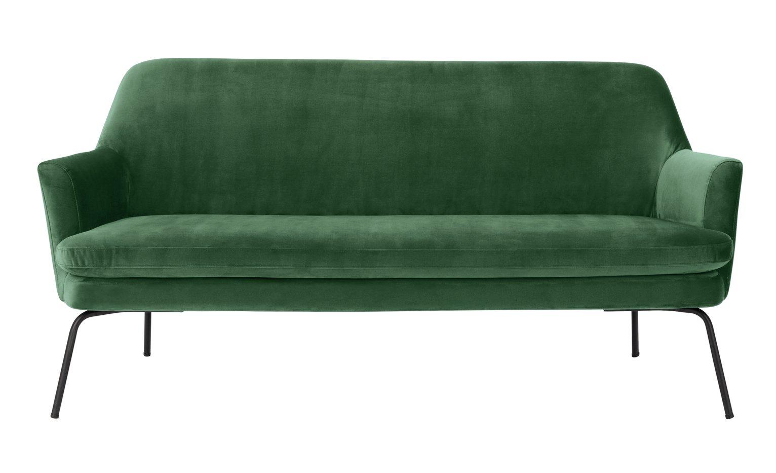 Habitat Celine 2 Seater Velvet 2 Seater Sofa - Green