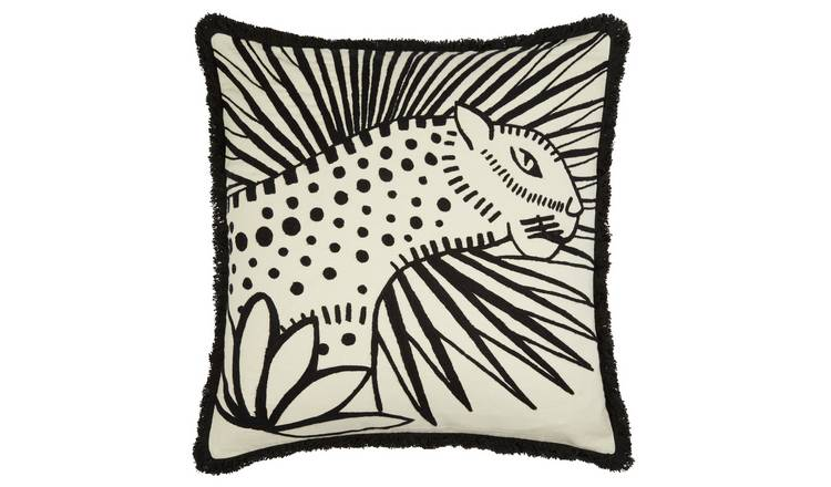 Habitat Jungle Embroidered Cushion Cover - Black