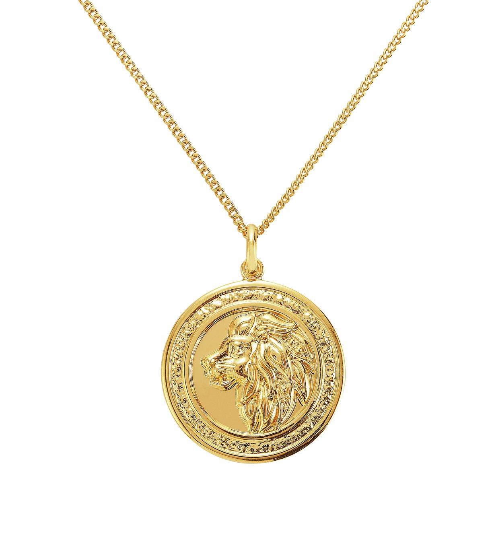 Revere Men's 9ct Gold Plated Lion Coin Pendant