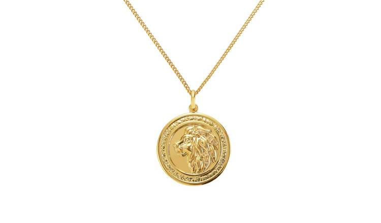 Revere Men's 9ct Gold Plated Lion Coin Pendant