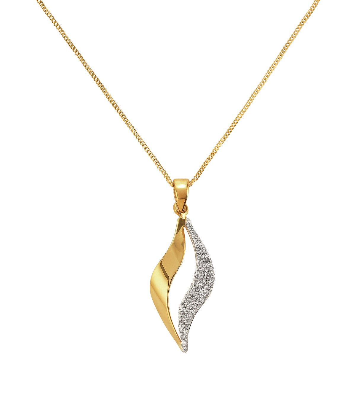 Revere 9ct Gold Plated Silver Glitter Flame Pendant
