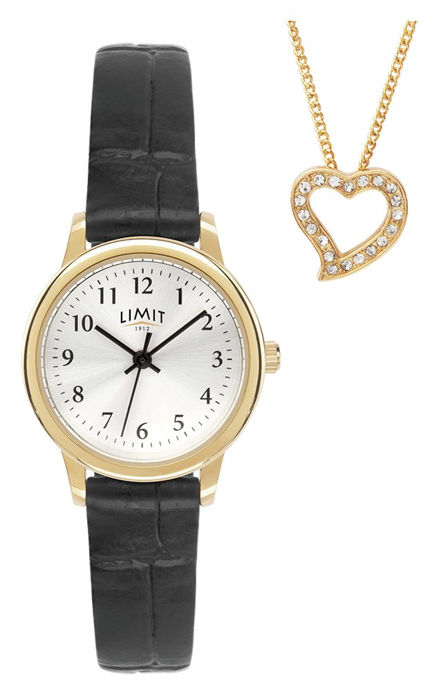 Limit Black Faux Leather Strap Watch and Gold Pendant