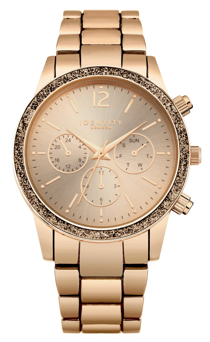 Identity Ladies Rose Gold Coloured Bracelet Watch