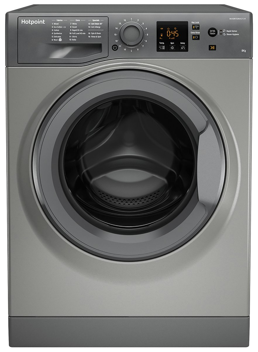 Hotpoint NSWM843CGG 8KG 1400 Spin Washing Machine - Graphite