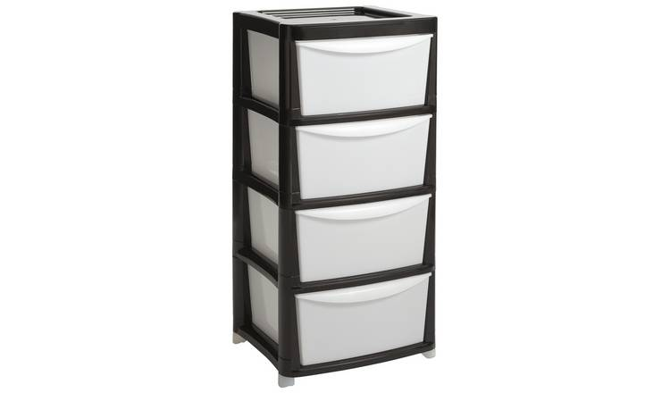 Argos Home Plastic Storage 4 Drawer - Black