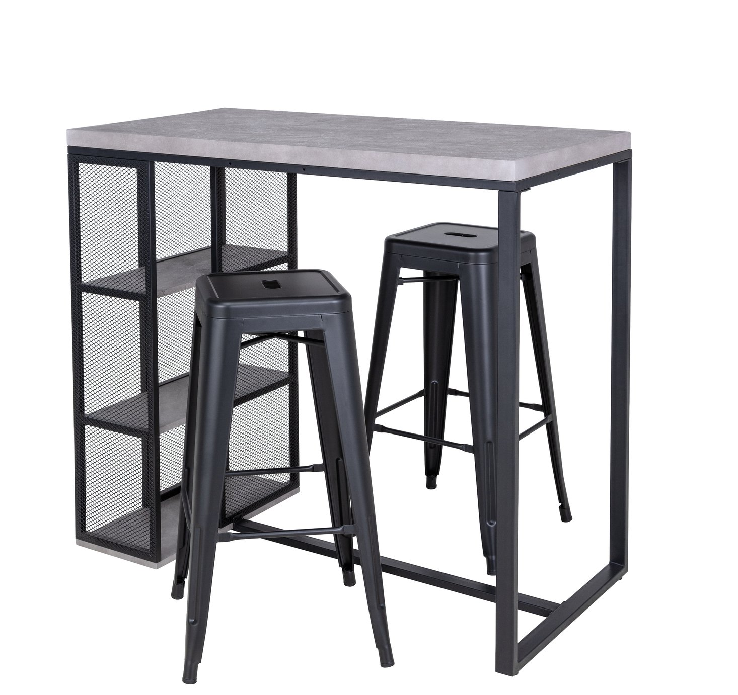 Argos Home Stone Effect Bar Table & 2 Bar Stools