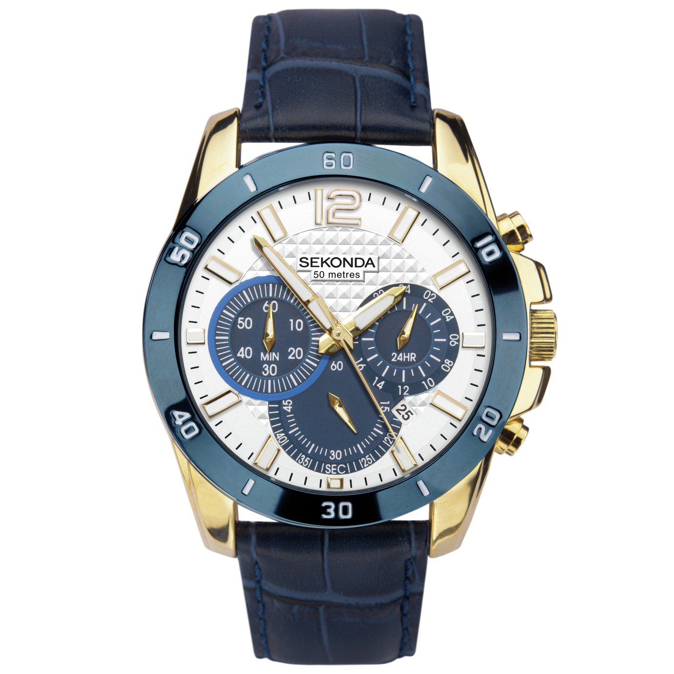 Sekonda Men's Chronograh Blue Leather Strap Watch