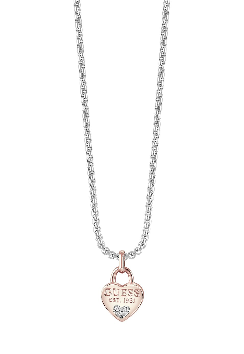 Guess Swarovski Heart Crystals Charm Silver 18inch Necklace